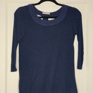 Le Lis Navy 3/4 Sleeve Top with trim detailing